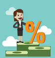 businesswoman and percent sign vector image