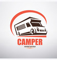 camper van logo template stylized symbol of vector image