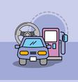 car service maintenance steering wheel and pump vector image vector image