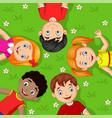 cartoon children lying on grass vector image vector image