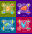 cartoon color folded towels banner set for vector image vector image