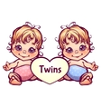 Cartoon little baby twins vector image