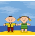 Children on beach vector image vector image