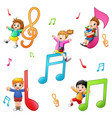 children playing with notes vector image