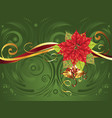 christmas banner with poinsettia vector image