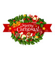 christmas holly wreath with gift bell and candy vector image