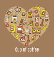 coffee flat line icons enclosed in the shape of vector image