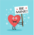 cute heart holding a poster on a stick vector image vector image