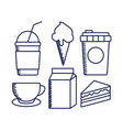 delicious milkshake with set food vector image vector image