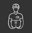 deliveryman with parcel chalk icon courier vector image vector image