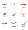 dino world icons set cartoon style vector image