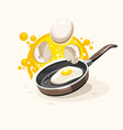 eggs frying on the hot pan vector image vector image