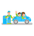 electro car refueling with happy people vector image vector image