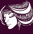 exotic silhouette of the woman face vector image vector image