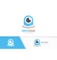 eye and open book logo combination optic vector image vector image
