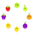 fruit characters - mascots in circle vector image vector image