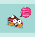 funny cake character with inspiration quote vector image