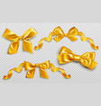 gold ribbons and bows for wrapping present box set vector image
