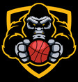 gorilla basketball mascot vector image vector image