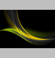 green yellow glowing waves on black background vector image vector image
