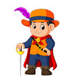 handsome musketeer with sword vector image vector image