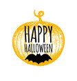 happy halloween lettering with pumpkin and bat vector image vector image