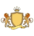 heraldic lions with shield and ribbon emblem vector image vector image