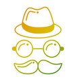 hipster hat mustache glasses face vector image vector image
