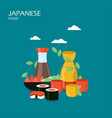 japanese food flat style design vector image vector image