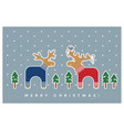 merry christmas card wth elk and deer vector image vector image