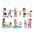 mothers feeding their children icons set on white vector image vector image
