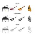 musical instrument cartoonoutlinemonochrome vector image vector image