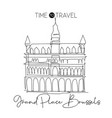one single line drawing grand place brussels vector image