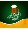 patrick day beer mug vintage background vector image vector image