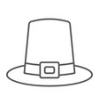 pilgrim hat thin line icon thanksgiving vector image