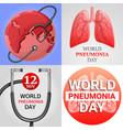 Pneumonia banner set cartoon style