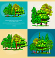set green forest summer trees collection in nature vector image vector image