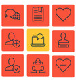 set of 9 social network icons includes confirm vector image vector image