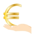 Sign euro in palm vector image vector image