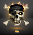 Skull on Fire Background vector image