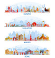 skyline flat set london singapore madrid rome vector image