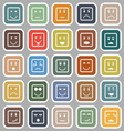 Square face flat icons on gray background vector image