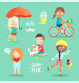 summer kids set riding bicycle playing and vector image vector image