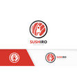 sushi and rocket logo combination japanese vector image vector image