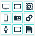 technology icons set with palmtop camera tablet vector image