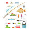 tools for fishing isolated icons set on white vector image