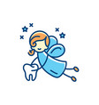 tooth fairy icon flat thin vector image vector image