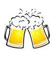 two bright beer mugs with foam and droplets vector image vector image