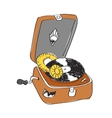 sketch of record player with vinyl record vector image