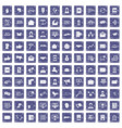 100 interaction icons set grunge sapphire vector image vector image